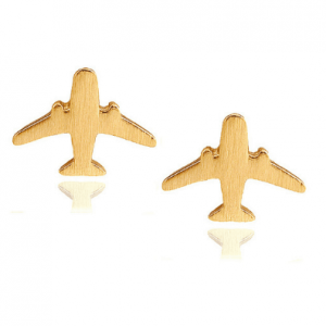 studs earrings, gold, plane, jewellery