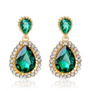 Green Statement Earrings With Gemstones. Click here for more beautiful statement earrings.Shop all musthave jewellery by Aphrodite.Free Worldwide shipping.