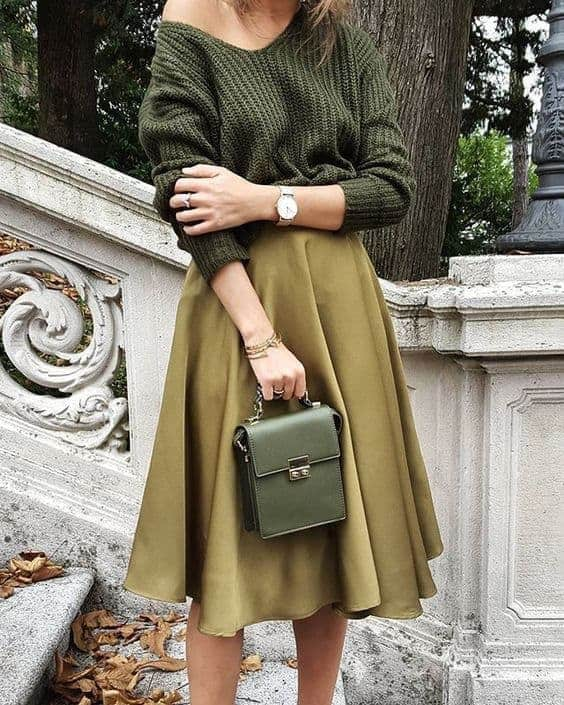 off shoulder look, groen, ring