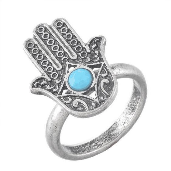 hamsa hand ring, zilver, blauw, sieraden