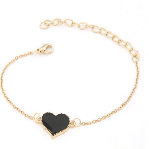 Bracelet With Black Heart Pendant. Click here for more beautiful bracelets. Shop all musthave jewellery by Aphrodite. Free worldwide shipping and gift.