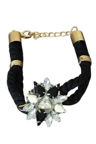 Black Flower Bracelet With Crystals. Click here for more beautiful bracelets. Shop all musthave jewellery by Aphrodite. Free worldwide shipping and gift.