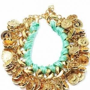 Mint Green Bracelet With Coins. Click here for more beautiful bracelets. Shop all musthave jewellery by Aphrodite. Free worldwide shipping and gift.