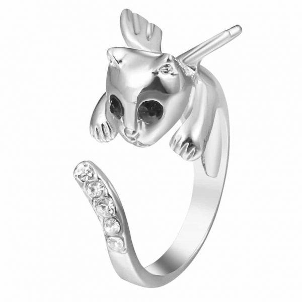 Kitten With Wings Ring, minimalist, crystal, jewellery