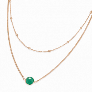 Layered Necklace With Green Stone. Click hear for more beautiful layered necklaces.Shop all musthave jewellery by aphrodite.Free worldwde shipping.