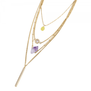 Layered Necklace With Purple Natural Stone. Click here for more layered necklaces.Shop all musthave jewellery by Aphrodite. Free worldwide shipping