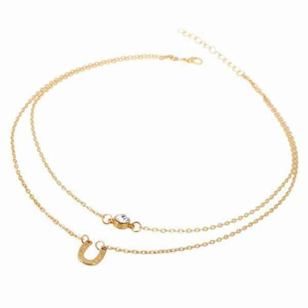 Layered Necklace With Horseshoe And Crystal. Click hear for more layered necklaces.Shop all musthave jewellery by aphrodite.Free worldwde shipping.