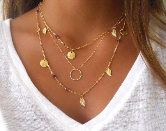Laagjes ketting, dubbele ketting cirkel, dames, vrouwen, accessoires, sieraden, goud