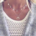 dubbele ketting, maansikkel,zilver,muntjes,fashion,dames