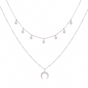 layered necklace, crescent,silver,fashion,women