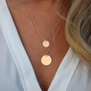 Layered Necklace With Double Discs. Click hear for more beautiful layered necklaces.Shop all musthave jewellery by aphrodite.Free worldwide shipping.