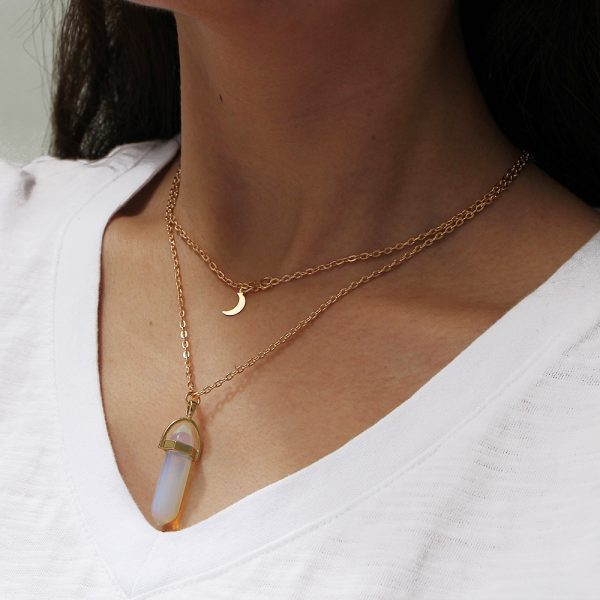 Layered Necklace With Moon And Natural Stone. Click hear for more layered necklaces.Shop all musthave jewellery by aphrodite.Free worldwde shipping.