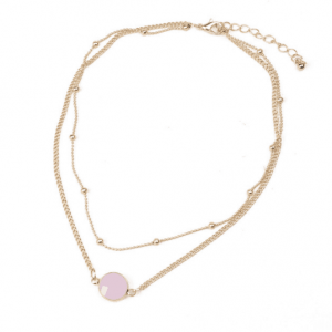 Layered Necklace With Pink Stone. Click here for more beautiful layered necklaces. Shop all musthave jewellery by Aphrodite. Free worldwide shipping.