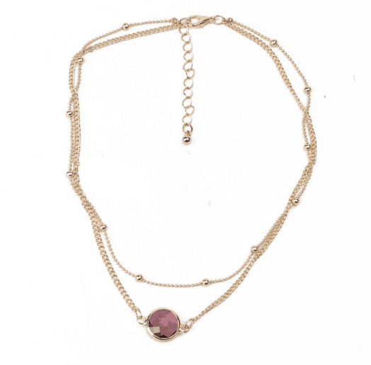 Layered Necklace With Purple Stone. Click here for more beautiful layered necklaces. Shop all musthave jewellery by Aphrodite. Free worldwide shipping.