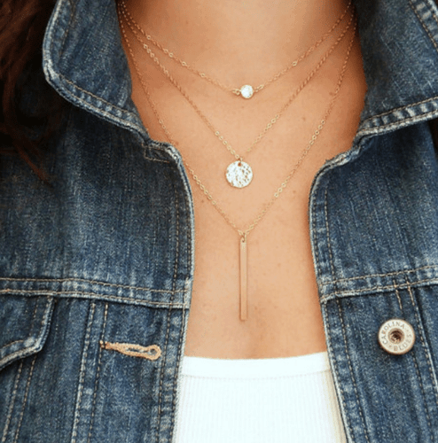 Layered Necklace With Crystal And Disc. Click here for more layered necklaces.Shop all musthave jewellery by aphrodite.Free worldwide shipping.