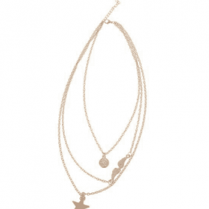 Layered Necklace With Star, Wing And Disc.Click here for more layered necklaces. Shop all musthave jewellery by Aphrodite. Free worldwide shipping and gift.
