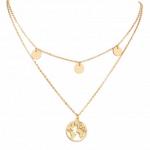 layered necklace, world map,gold,women,jewellery,fashion