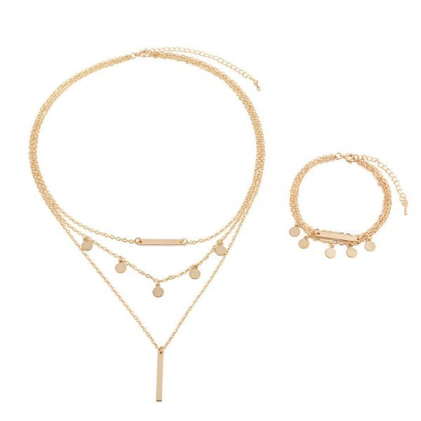 2Pcs Gold Layered Necklace+Bracelet Set.click hear to shop more beautiful necklaces. Shop all musthave jewellery by aphrodite. Free worldwide shipping.