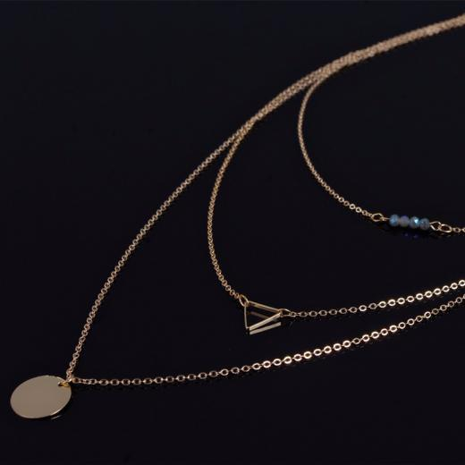 Layered Necklace With Blue Beads. Click hear for more beautiful layered necklaces.Shop all musthave jewellery by aphrodite.Free worldwide shipping.