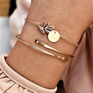 minimalistische armbandjes. blad, muntje, zilver, goud