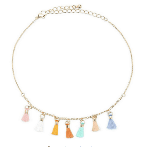 Minimalist Colorfull Tassel Necklace. Click here for more delicate necklaces. Shop all musthave jewellery by Aphrodite. Free worldwide shipping and gift.