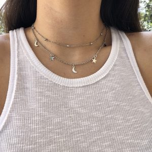 Layered necklace, moon, stars, minimalist, subtle, jewellery, jewelry, women