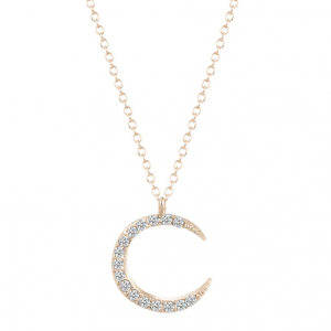 Gold Moon Necklace With Crystal.click hear to shop more delicate necklaces. Shop all musthave jewellery by aphrodite. Free worldwide shipping and gift.