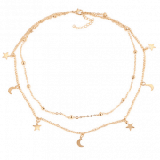Layered Necklace ''Moon+Star''. Click hear for more beautiful layered necklaces.Shop all musthave jewellery by aphrodite.Free worldwide shipping.