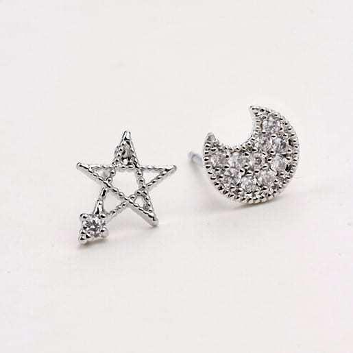 Maan en ster oorstekkers, studs oorbellen,zilver,sieraden