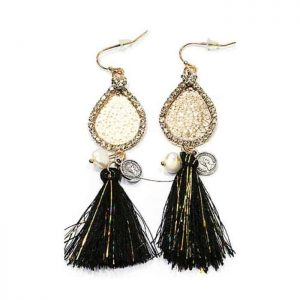 Statement Earrings With Black Tassels. Click here for more beautiful statement earrings. Shop all musthave jewellery by Aphrodite. Free worldwide shipping.