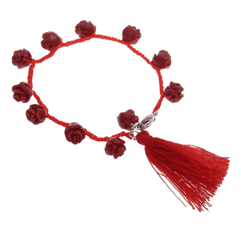 Red Rose Bracelet With Tassel. Click here for more beautiful bracelets. Shop all musthave jewellery by Aphrodite. Free worldwide shipping and gift.