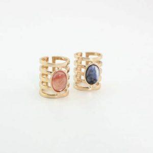 statement ring, groot, blauwe steen