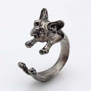 hond, ring, zilver, sieraden, trendy, accessoire