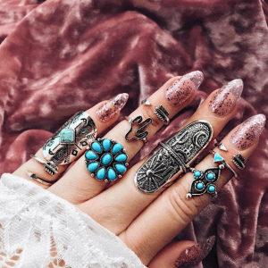 9 Pcs Antique Silver Ring Set.click hear to shop more beautiful rings. Shop all musthave jewellery by aphrodite. Free worldwide shipping and gift.