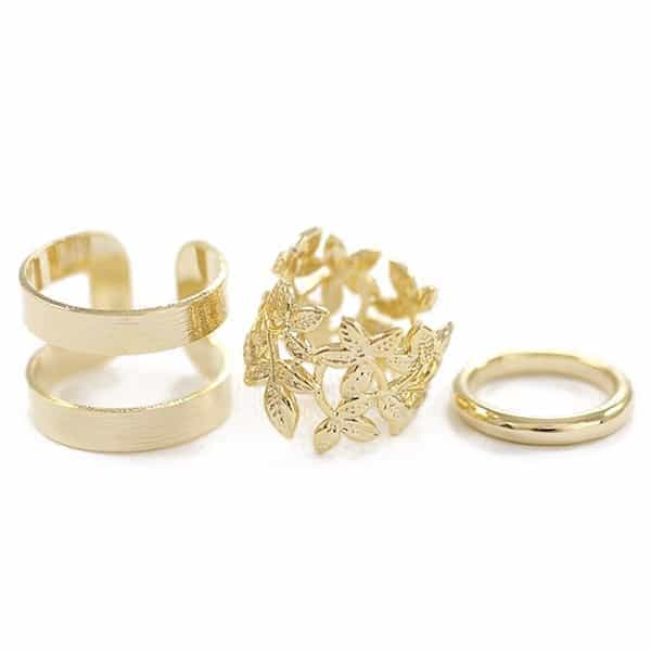 3 Pcs Gold Leaves Ring set. click hear to shop more beautiful rings. Shop all musthave jewellery by aphrodite. Free worldwide shipping and gift.