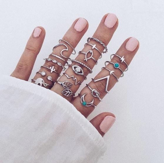 ringen set, zilver, sieraden, ringparty, aphrodite,leuk, mooi, minimalistisch