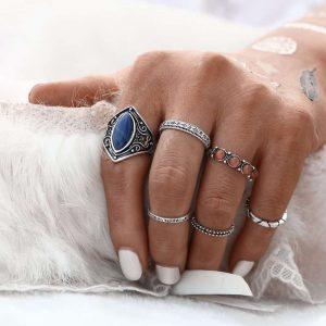 6 stuks , blauwe, ringset, zilver,bruin,sieraden