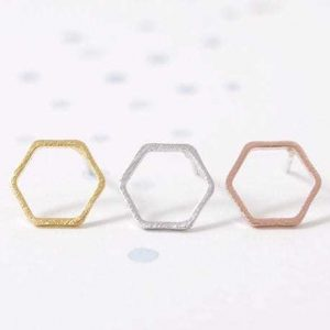 Hexagon stud Earrings, minimalist, jewellery,trendy