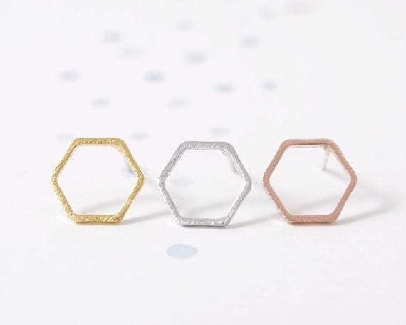 Minimalistische Oorbellen Zilver : Minimalistische studs oorbellen hexagon aphrodite store