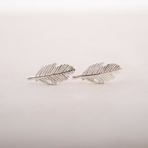 studs earrings, silver, leaf, minimalist, jewellery, aphrodite