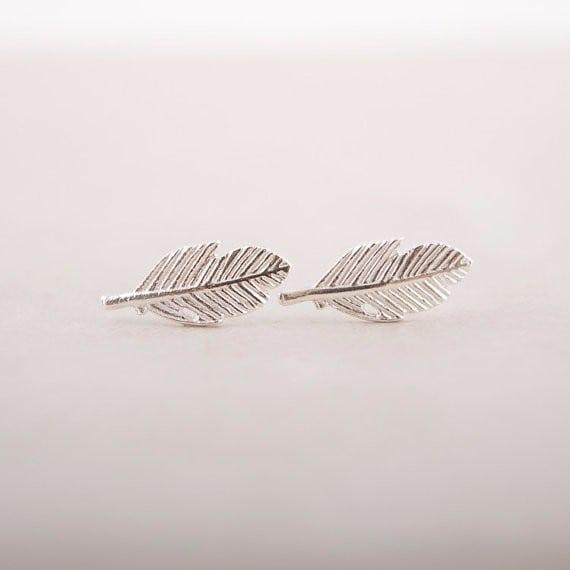studs earrings, silver, leaf, minimalist, jewellery, aphrodite