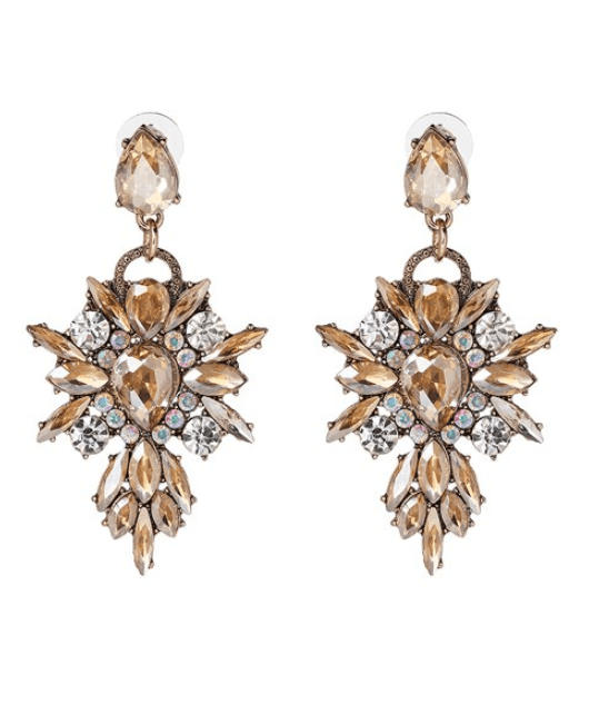 Statement Earrings Champagne With Crystals.Click here for more statement earrings.Shop all musthave jewellery by Aphrodite.Free worldwide shipping.