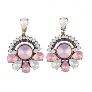 Statement Earrings With Pink Crystals.click here for more beautiful statement earrings.shop all musthave jewellery by aphrodite.free worldwide shipping.