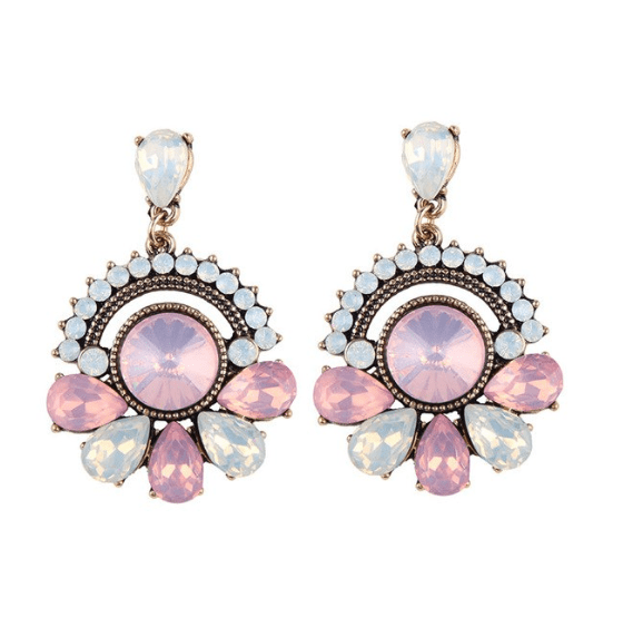 Statement Earrings With Pink Crystals