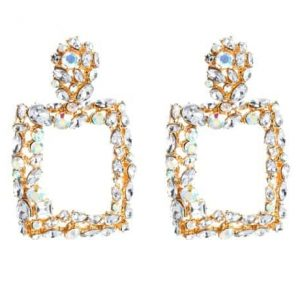 statement earrings, crystals,square,gold