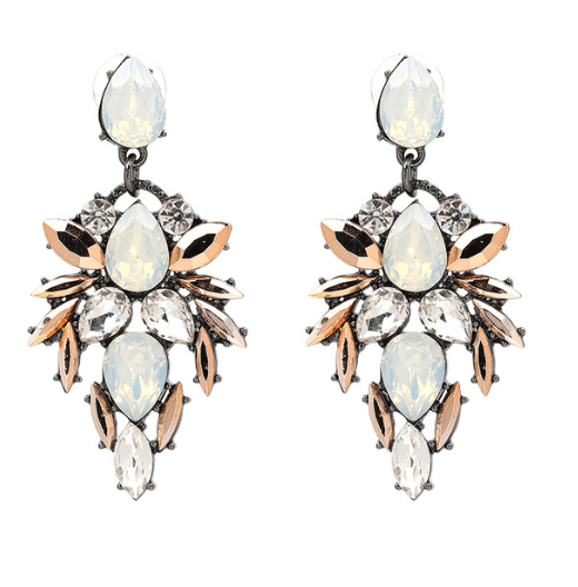 Statement Earrings With Crystals-White.Click here for more beautiful statement earrings.shop all musthave jewellery by aphrodite.free worldwide shipping.