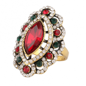 statement ring, rood, groen, wit, kristallen steentjes, sieraden