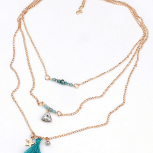 Layering Necklace With Blue Beads And Tassel. Click hear for more layered necklaces.Shop all musthave jewellery by aphrodite.Free worldwide shipping.
