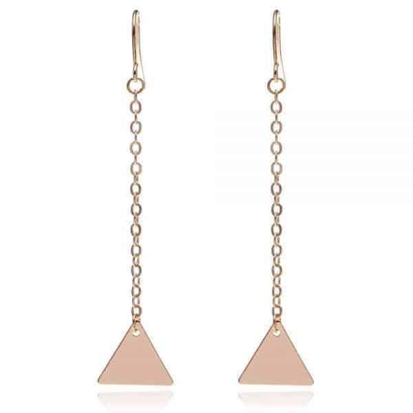 aphrodite lange oorbellen met driehoekjes, minimalistisch